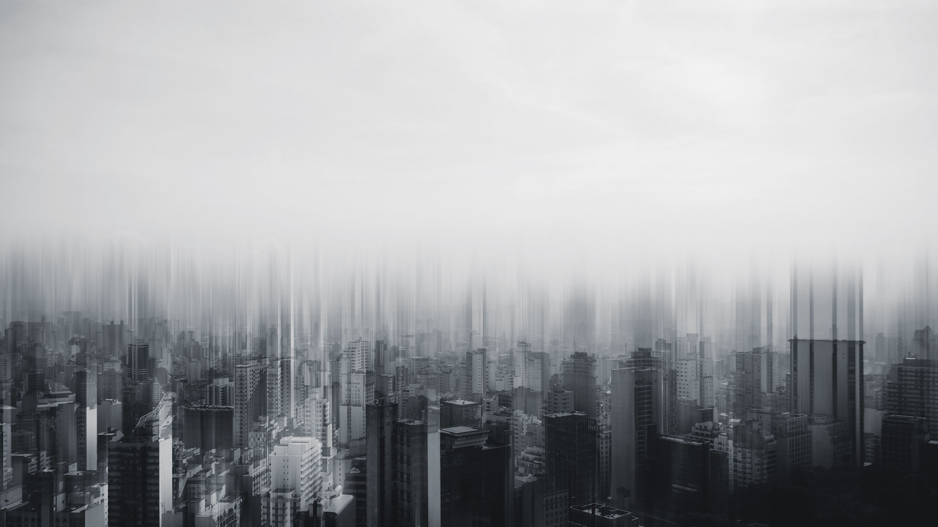 Black and white image of city skyline