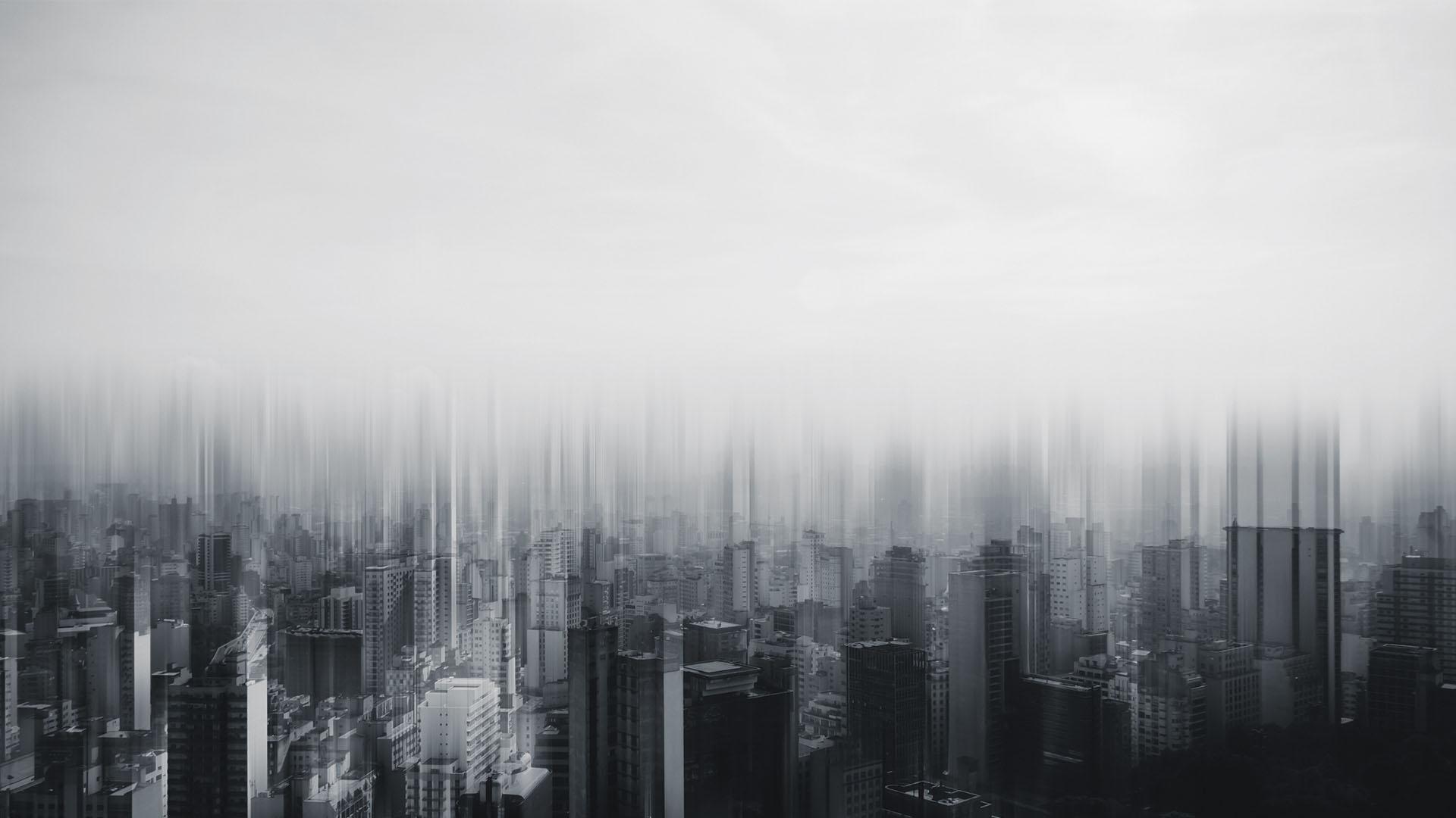 Black and white image of city skyline