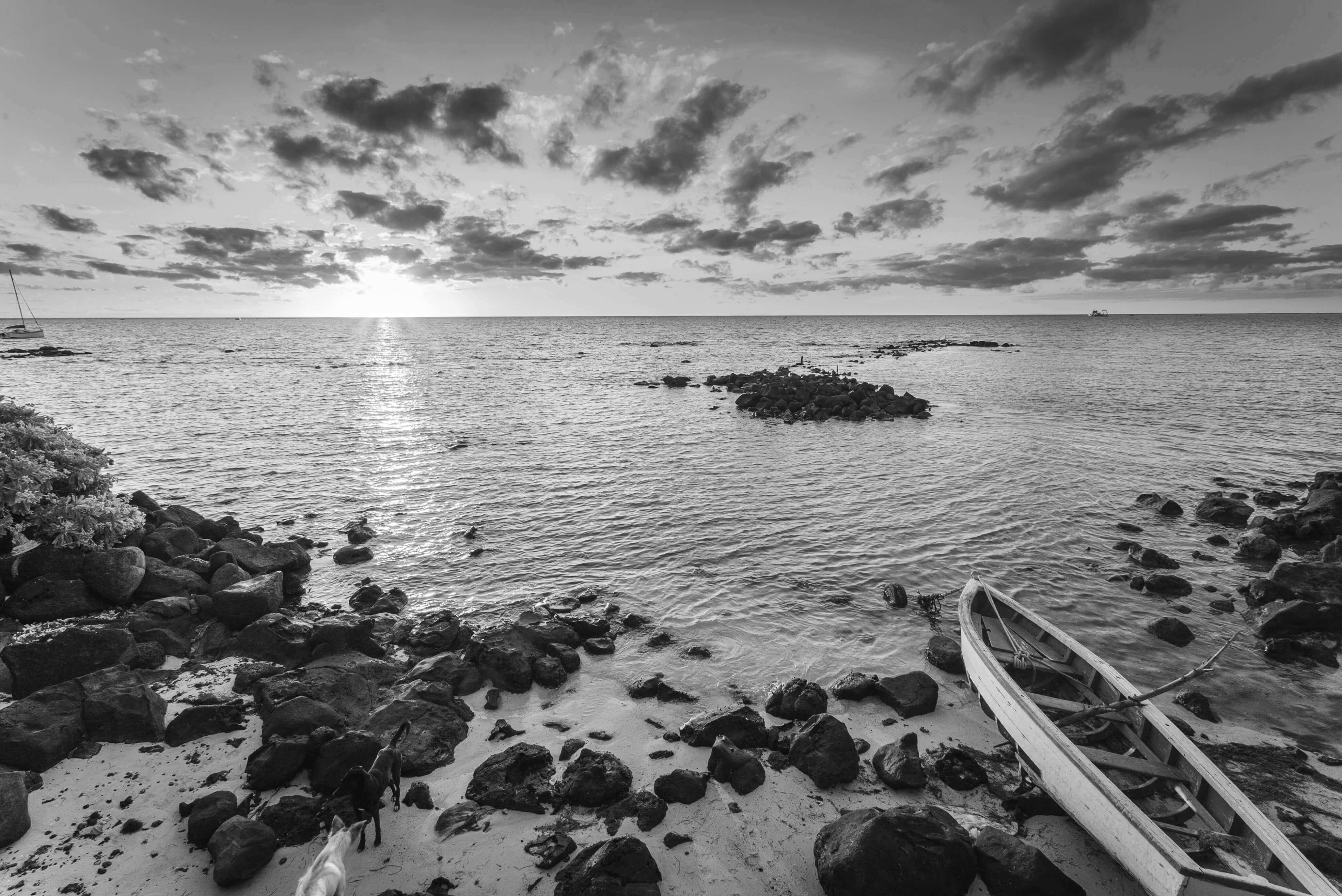 Image of a boat on a shoreline in Mauritius.