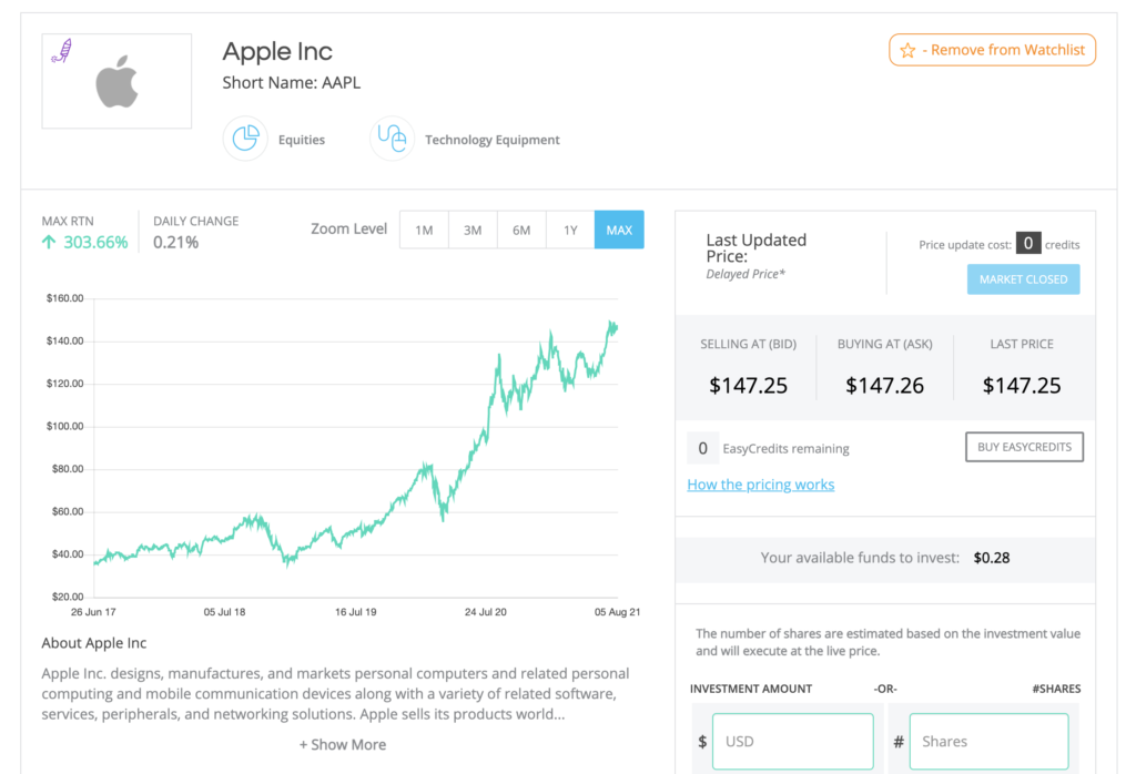 Apple share price on Easy Equities